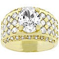 Kate Bissett Goldtone Clear Oval-cut Cubic Zirconia Men's Ring