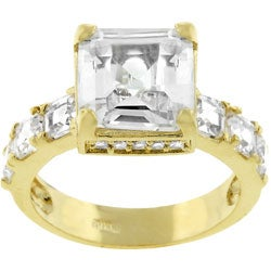 Kate Bissett Goldtone Clear Princess-cut Cubic Zirconia Ring