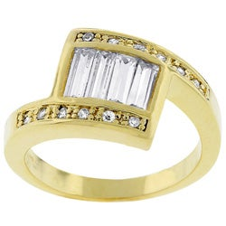 Kate Bissett Goldtone Baguette Clear CZ Ring