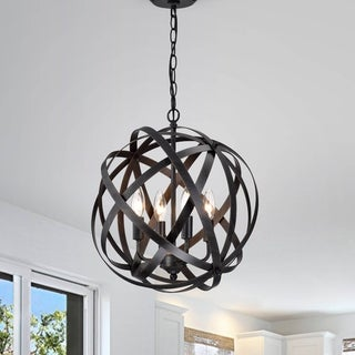 Benita Antique Black 4-Light Metal Globe Chandelier