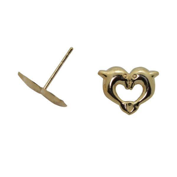 Junior Jewels 14k Yellow Gold Kissing Dolphin Earrings
