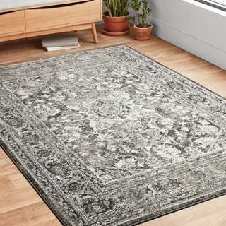 Alexander Home Bellagio Star Medallion Traditional Border Distressed Rug