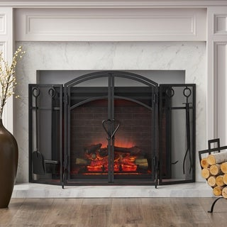 Brightwell Modern Iron Folding Fireplace Screen with Door and Tools by Christopher Knight Home
