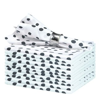 Glamburg 12 Pack 100% Ring Spun Cotton Polka Dots Cloth Dinner Napkins 18x18, Wedding Dinner Napkins