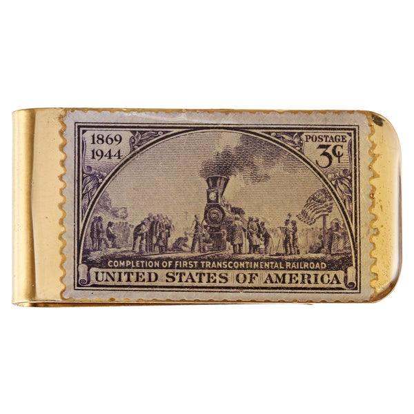 American Coin Treasures Brass Train Stamp Money Clip