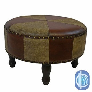 International Caravan Faux-Leather Large Round Stool