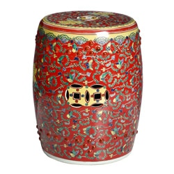 Handmade Rose Red Floral Chinese Porcelain Garden Stool (China)