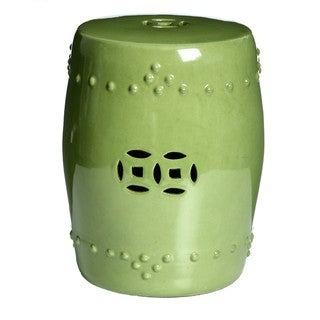 Handmade Porcelain Moss Green Garden Stool (China)