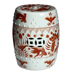 Handmade Red/ White Porcelain Garden Stool (China)
