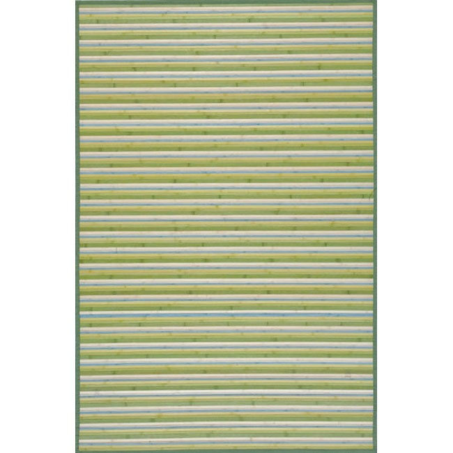 Handmade Lime Green Stripe Rayon from Bamboo Rug (4' x 6')