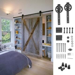 Ainfox 6.6ft Sliding Barn Door Hardware Kit Big Wheel