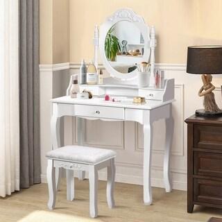Vanity Mirrored Wood Makeup Dressing Table Stool Set Black/ White