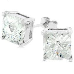 Kate Bissett Silvertone Princess-cut CZ Stud Earrings