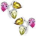 Kate Bissett Silvertone Flower Multicolored CZ Stud Earrings