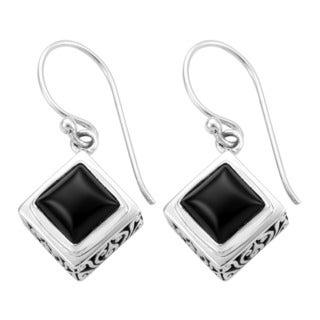 Sterling Silver Black Onyx Dangle Earrings (Indonesia)