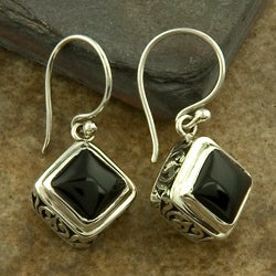Sterling Silver Black Onyx Dangle Earrings (Indonesia)