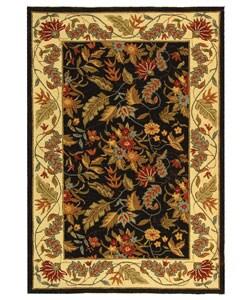 Handmade Paradise Black Wool Rug (6' x 9')