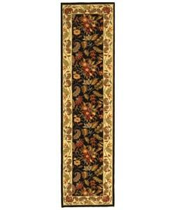 Handmade Paradise Black Wool Runner (2'6 x 8')
