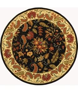 Handmade Paradise Black Wool Rug (8' Round)