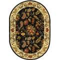 Handmade Paradise Black Wool Rug (4'6 x 6'6 Oval)