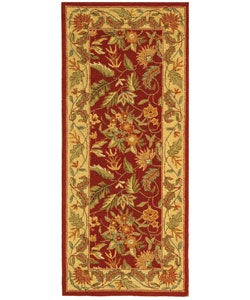 Handmade Paradise Red Wool Runner (2'6 x 6')