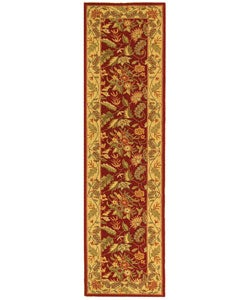 Handmade Paradise Red Wool Runner (2'6 x 8')
