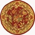 Handmade Paradise Red Wool Rug (4' Round)