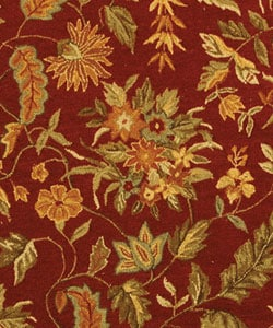 Handmade Paradise Red Wool Rug (8' Round)