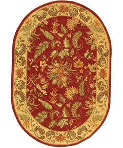 Safavieh Handmade Paradise Red Wool Rug (4'6 x 6'6 Oval)