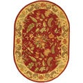 Handmade Paradise Red Wool Rug (4'6 x 6'6 Oval)