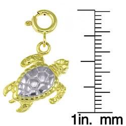 14k Yellow Gold/ Rhodium Sea Turtle Charm