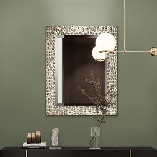 Copper Grove Tichla Beveled Rectangular Accent Mirror with Mirrored Mosaic Frame
