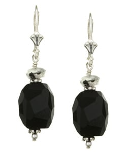 Charming Life Sterling Silver Black Onyx and Quartz Earrings