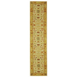Handmade Tribal Ivory/ Gold Wool Runner (2'3 x 14')