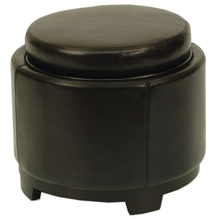 Safavieh Round Black Ottoman with Storage Tray