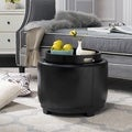 Round Black Ottoman with Storage Tray