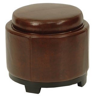 Safavieh Round Brown Cordovan Ottoman with Storage Tray