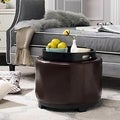 Round Brown Cordovan Ottoman with Storage Tray
