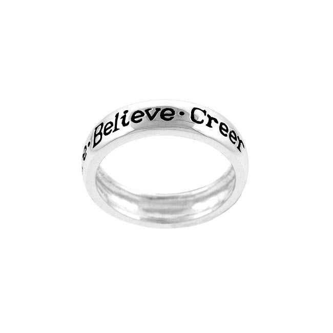 Mondevio Sterling Silver 'Believe' Ring