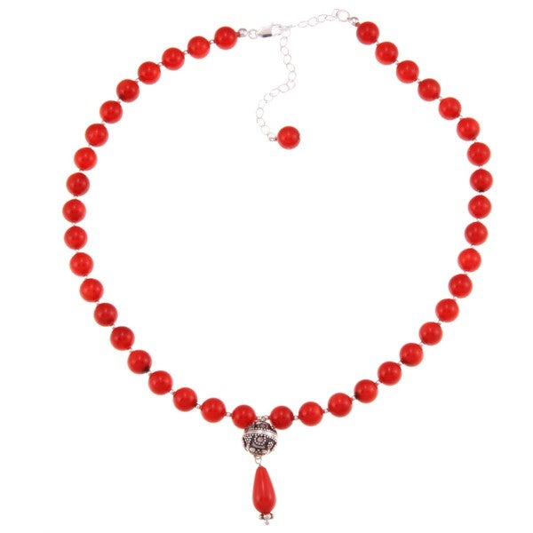 Glitzy Rocks Sterling Silver Sea Bamboo Coral Bead Necklace