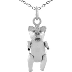 Journee Collection Sterling Silver High Polished Movable Pig Necklace