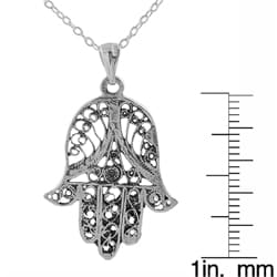 Journee Collection Sterling Silver Filigree Hand Shape Necklace