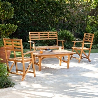 Baillon Outdoor Wood Conversation Set (Set of 4) by Havenside Home