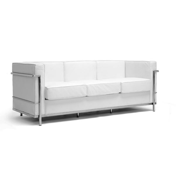 Mason White Leather Sofa