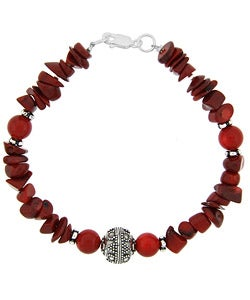 Glitzy Rocks Sterling Silver Coral Chip and Bead Bracelet