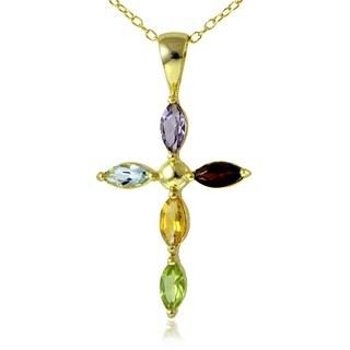 Glitzy Rocks 18k Gold over Silver Multi-gemstone Cross Necklace