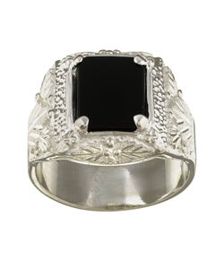 Black Hills Silver Rectangular Onyx Men's Ring