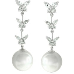 Kate Bissett Silvertone Faux Pearl and Cubic Zirconia Earrings