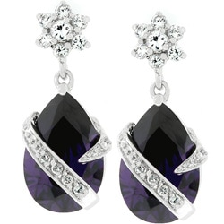 Kate Bissett Silvertone Purple Cubic Zirconia Drop Earrings