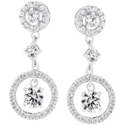 Kate Bissett Silvertone Cubic Zirconia Drop Earrings